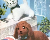 1950s Playful Pets, knitted kitten and puppy toy pattern - vintage knitting pattern PDF