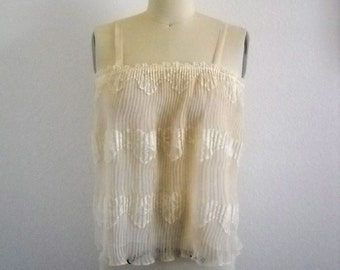 Vintage Pleated Organza and Lace Cream Cami Top