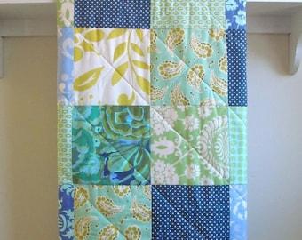 Modern Baby Quilt -  Blue Aqua Mix -  Crib Quilt in Navy, Aqua, Periwinkle, Mint, and Citron, Baby Bedding, Nursery, Handmade Crib Quilt,