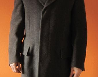 Custom Tailored Wool Overcoat Sz M