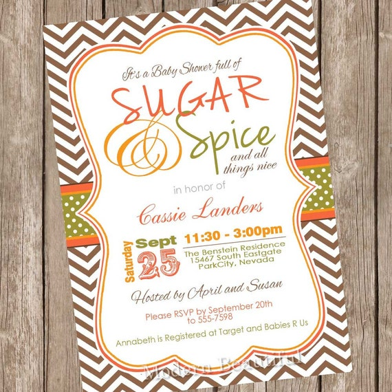 items similar to fall sugar and spice baby shower invitation, Baby shower