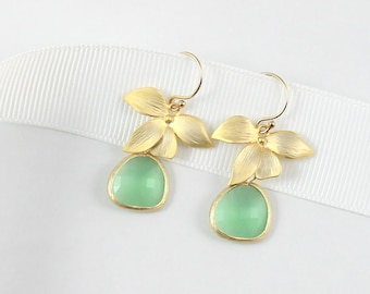 Gold Orchid Earrings / Mint Earrings / Wedding Earrings / Bridesmaid Gift / Everyday Earrings / Dainty Jewelry
