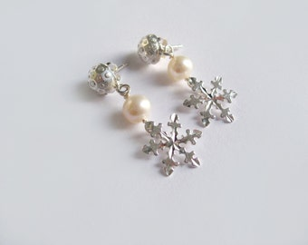 Sparkling Snowflakes Sterling Silver And Pearl Earrings