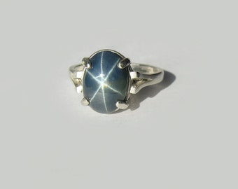 Large Natural Blue Star Sapphire In Sterling Silver Ring 3.86ct. Size 5.75