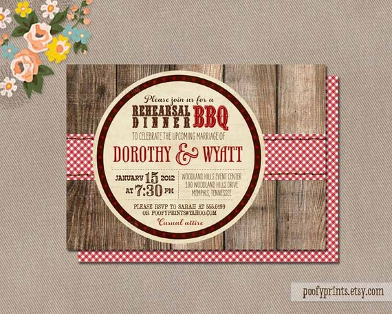 BBQ Rehearsal Dinner Invitations - Rustic BBQ Mixed Type Printable Invitations - Dorothy Collection