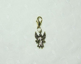 Guardian Angel Charm and Lobster Clasp Purse Charm Phone Charm Dog Collar Charm