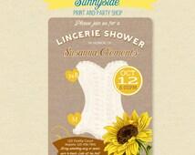 Sunflower Lingerie Shower Invite  - Burlap Background - Fall Shower Invitation