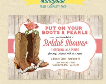 Boots & Pearls Bridal Shower Invitation - Country, Cowgirl, Western Bridal Shower Invite, Pink