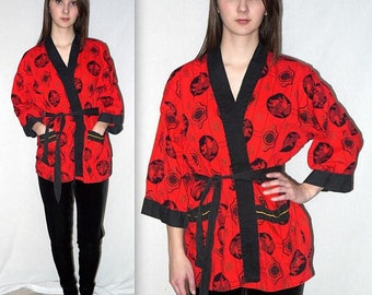 Collette ... Vintage 50s rockabilly VLV jacket / novelty print / vixen wrap shirt / 1950s Pleetway robe Kimono / Mid Century Asian Oriental