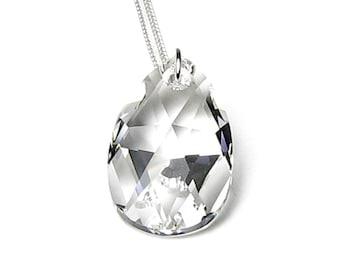 Moonlight Clear Swarovski Crystal Pear Teardrop Silver Pendant Necklace, Crystal Wedding Jewelry, Simple Elegant Timeless Heirloom, Gift Box