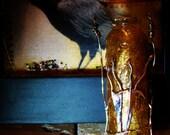 OOAK Amber Glass Bottle Pendant Silvery Foliage for Perfume Prayers Spells Wishes Keepsakes