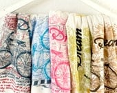 Bicycle Print Scarf Bicycle Accessories Light Blue Infinity Scarf Cotton Jersey Scarf Text Scarf Spring Accessories