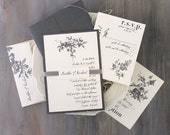 "Gray/Grey & Ivory Wedding Invitations, Elegant/Traditional with Script Fonts/Customizable - ""All White"" Deposit"