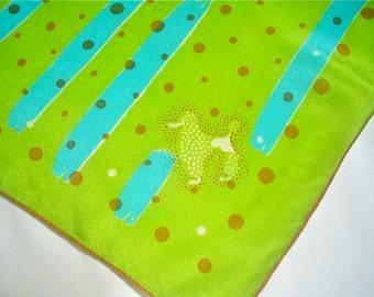 Vintage Silk Scarf, Lime and Turquoise Polka Dot Poodle Novelty Print