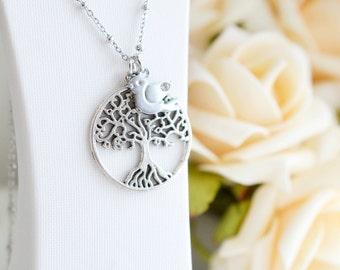 Tree of Life Necklace, Tree Pendant Charm, Sparrow,Bird Necklace, Bridesmaid Gift, Tree and Bird, Family Tree Necklace, Dainty Necklace Gift