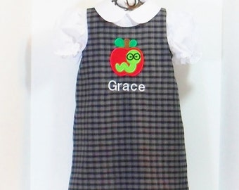 GIRLS SCHOOL DRESS Size 6mo to 8 Preppy Monogram Apple Plaid Jumper 6mo 9mo 12mo 18mo 24mo 2t 3t 4t 5 6 7 8