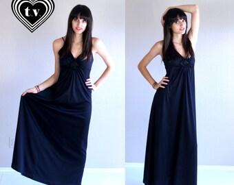 vtg 70s black CROCHET open back MAXI DRESS cut out xs/s boho hippie festival