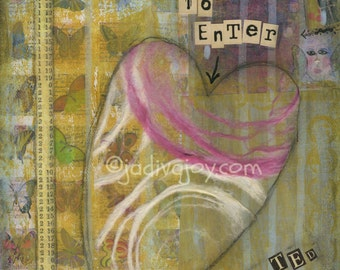 Open Heart-Matted Mixed Media Print (8x10 matted to 11x14)