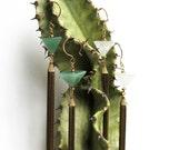 Aventurine Shriner's Fez Mini Tassel Earrings -- Reserved for Jenny --