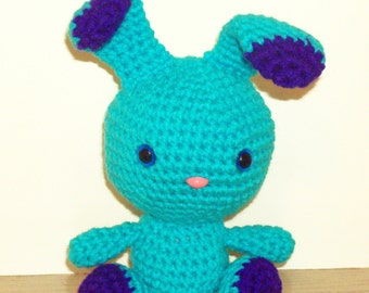 Two-Toned Bunny - Turquoise and Amethyst Crochet Bunny Doll (Finished Doll)