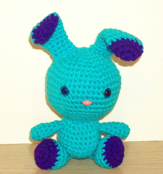 two toned bunny turquoise and amethyst crochet bunny doll