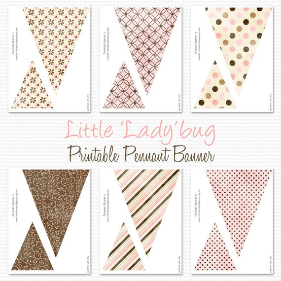 Pink and Brown Printable Pennant Banner, Birthday Party Decoration, Baby Shower Decor, Bunting -- Printable, Instant Download