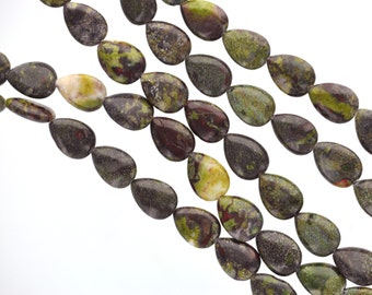 Half Strand Smooth Teardrop Briolette DRAGON BLOOD JASPER Beads, 14mm x 10mm . Natural Gemstones gja0038