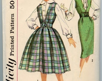 1950s Simplicity 3079 Junior and Misses' Jumper with Two Skirts and Blouse Vintage Sewing Pattern Bust 31.5