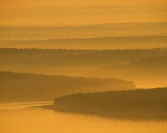 Acadia National Park Morning Light Landscape Photography Maine Fine Art Photograph Zen Islands Hills Color Art Print Gold Home Decor