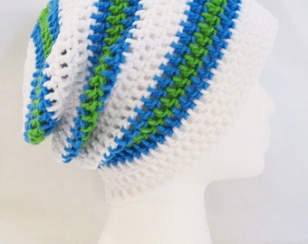 long slouch beanie white, blue, green striped hand crochet unisex fits teens and adults
