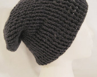 long slouch beanie grey ribbed hand crochet unisex fits teens and adults
