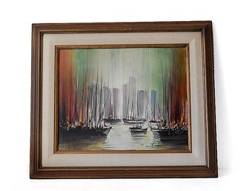 Mid Century Original Oil Painting by Ozz Franca