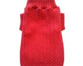Small Red Cable Knit Designer Dog Sweater, Pet Puppy Apparel Clothes
