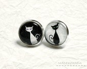Black & white Cat Post Earrings Fun Jewelery,  from MADEbyMADA