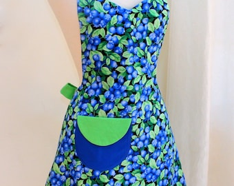 Womens Full Apron in Blueberries