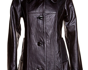Ladies black recycled leather coat