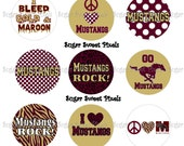 INSTANT DOWNLOAD Maroon & Vegas Gold Mustangs  1 inch circle Bottlecap Images