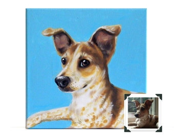 "10x10"" Custom Dog Portrait / Custom Pet Portrait - 1 Pet Solid background Jack Russell Terrier Example Memorial Art Painting Acrylic Canvas"