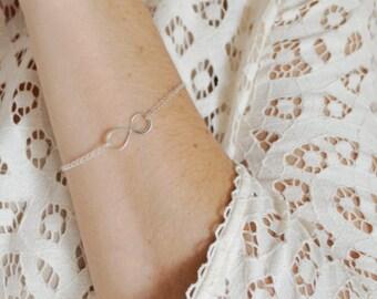 Silver Infinity Bracelet - Sterling Silver Sideways Infinity | Infinite Love | Trendy Modern Jewelry | Everyday Bracelet | Simple Jewelry