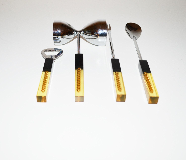 Vintage Acrylic Bar Utensils Bar Tools Barware Set 4 Piece Set