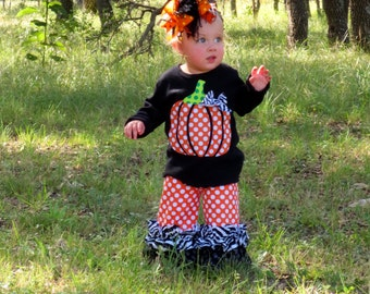 Wild Pumpkin Outfit...Double Ruffle Pants and Appliqued Pumpkin, Short or Long Sleeved, 2 Shirt Colors, Size 0-3m to 8yrs