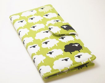 Women's Wallet, Organic Fabric Clutch, Vegan Wallet, Sheep