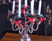 1/12th Holly decorated Candelabra