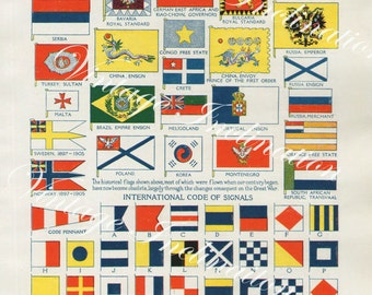 National Flags Signal Codes 4013 vintage lithograph print antique bookplate to decor frame