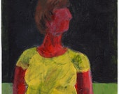 Original Painting - 'Red Girl with the Yellow Shirt' by Peter Mack