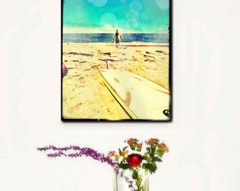 Surfer Art Large Canvas, Retro Surfer Photography, Beach Art, Vintage Look, Large Canvas Wall Art