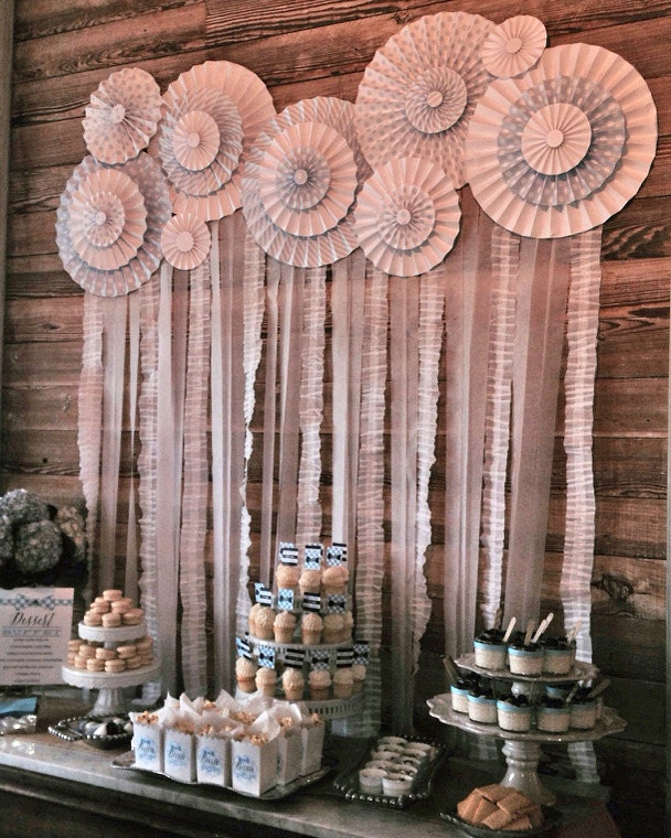 White ruffle garland banner streamer wedding shower for How to make a balloon and streamer backdrop