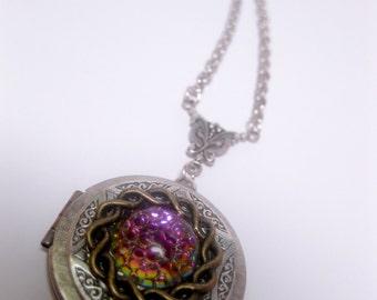 Locket Necklace - Fantasy Necklace - Porthole - Galaxy - Battlestar Realm - Custom Chain Length