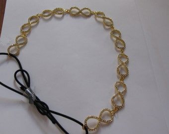 Gold Metal Crystal Infinity Elastic Headband, for Bridal, weddings, parties, evening, special occasions
