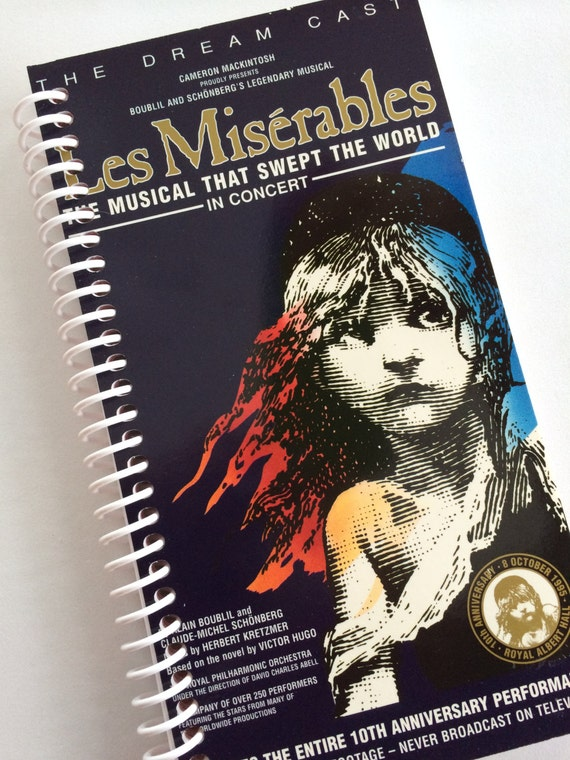 LES MISERABLES Notebook Journal upcycled spiral notebook Recyled Repurposed Vhs movie
